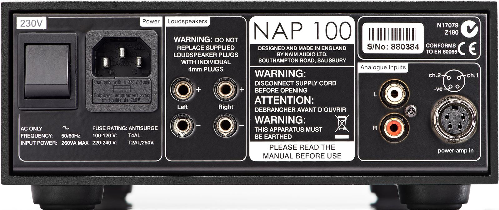 audio solutions naim nap 100 stereo power amplifier. Black Bedroom Furniture Sets. Home Design Ideas