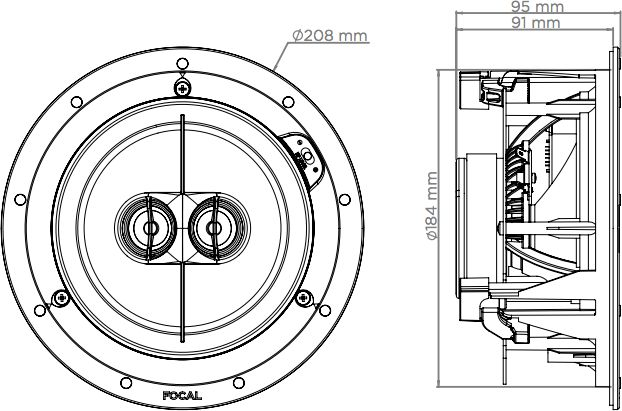 audio solutions focal 100 ic6st stereo in ceiling speaker